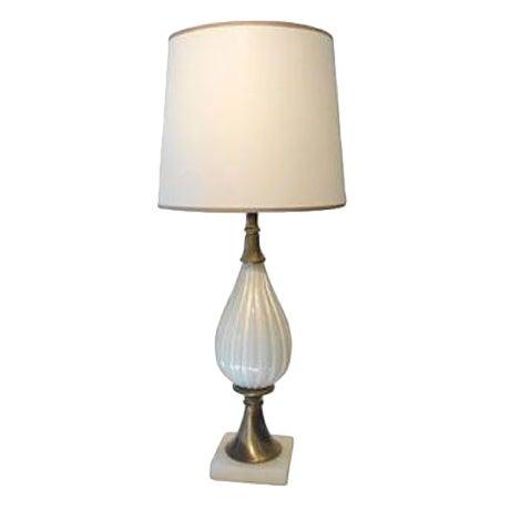 Superb 1950s White Murano Glass Lamp For Sale