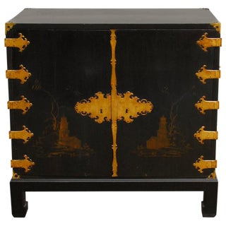 George III Chinoiserie Japanned Lacquer Cabinet on Stand