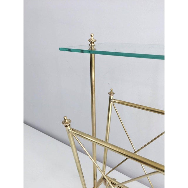 1940s French Brass and Glass Magazine Rack, Attributed to Maison Jansen For Sale - Image 4 of 11