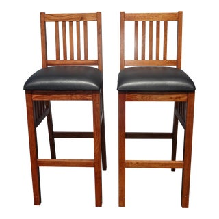 1990s Vintage French Country Oak Bar Stools- A Pair For Sale