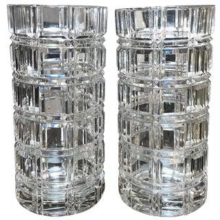 1950s Mid-Century Modern Cut Crystal Cylinder Vases - a Pair