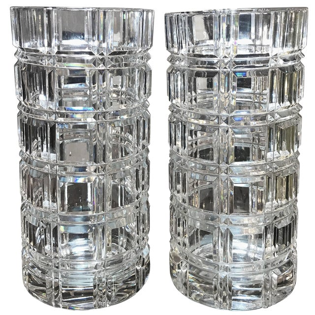 1950s Mid-Century Modern Cut Crystal Cylinder Vases - a Pair For Sale