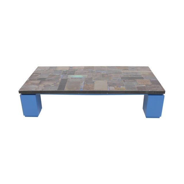 Ceramic tile coffee table by Pia Manu, mounted on blue lacquered base, Belgium, 1960s Pia Manu is a workshop from...