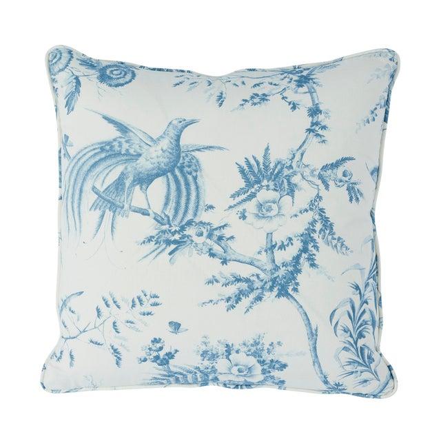 Contemporary Schumacher Toile De La Prairie Pillow in Blue For Sale - Image 3 of 3