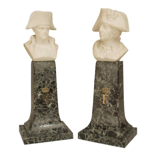 Pair of 19th C. Continental Alabaster Busts of Napoleon & Frederick the Great For Sale