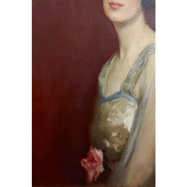 Canvas Roland Hinton Perry -Portrait of a Woman in a Stylish Dress -C.1919 Oil Painting For Sale - Image 7 of 11
