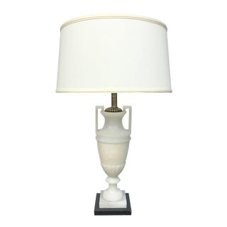 A Striking and Elegant Italian Art Deco White Alabaster Urn Lamp For Sale
