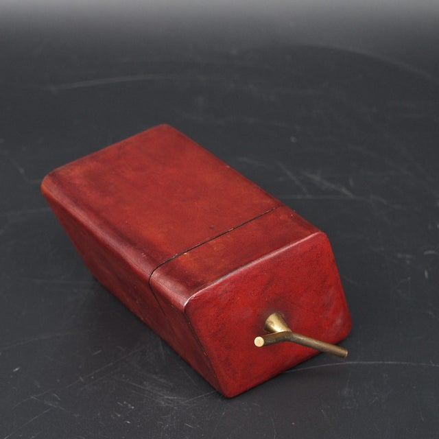 Brass Handled Red Leather Trinket Box Lid ScaccoMatto Italy Midcentury Regency For Sale In Washington DC - Image 6 of 10