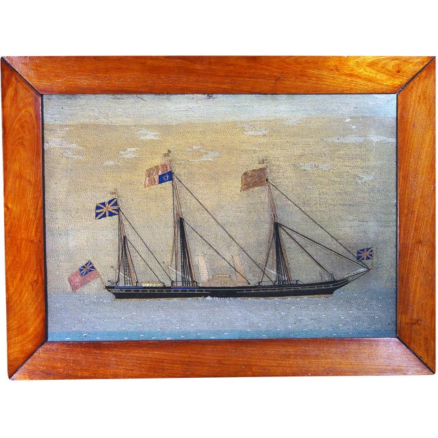The sailor's woolie or woolwork depicts HMY Victoria and Albert, a 360 foot steamer launched 16 January 1855 which was a...