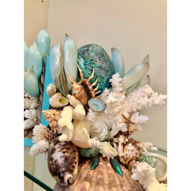 Contemporary Organic Modern Turquoise Bookends Laden With Rare Shells - a Pair For Sale - Image 3 of 5