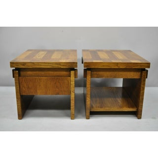 20th Century Brutalist Lane Oak Modernist End Tables - a Pair Preview