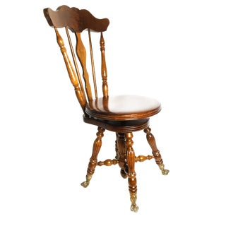 1900s Victorian Wooden Piano Chair With Adjustable Seat For Sale