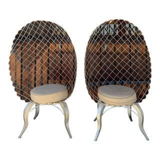 Modern Custom Made Wired Egg Shaped Chairs- A Pair For Sale