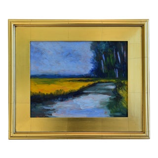 California Plein Air Foothills & Stream Oil Painting W/ Gold Leaf/Gilt Frame