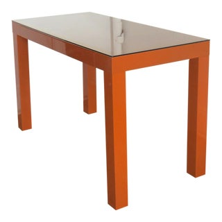 Vintage Orange Lacquered Parsons Desk For Sale