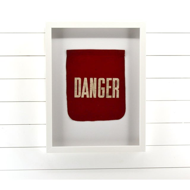 Vintage Framed Danger Flag, Wall Art Decor For Sale - Image 4 of 4