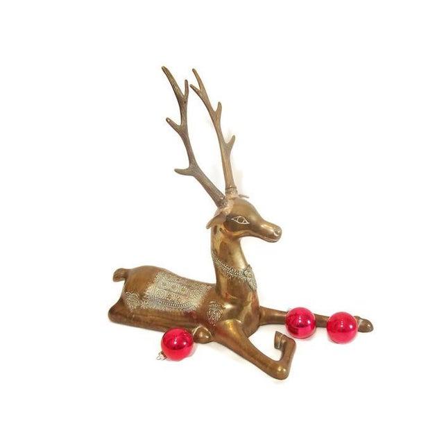 Hollywood Regency Brass Reindeer Statue - Image 2 of 9