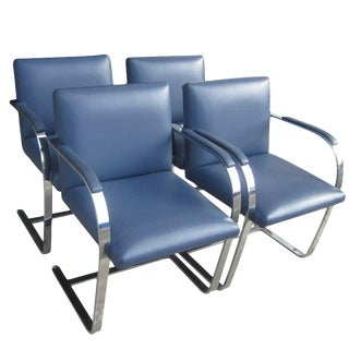 Set of Four Leather Flatbar Mies Van Der Rohe Brno Chairs for Thonet For Sale