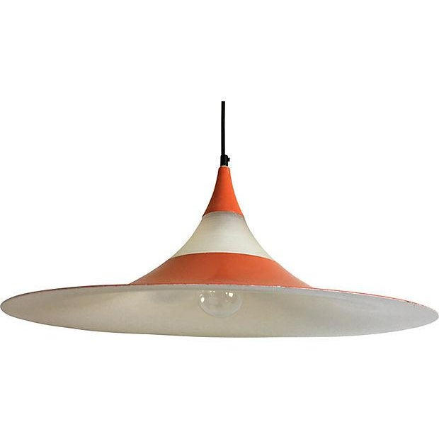 "Rare oversize 1960s Danish modern ""semi"" pendant chandelier designed by Bonderup and Thorup for Fog & Morup featuring a..."