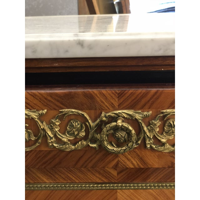 Mid 20th Century French Louis XVI Mahogany Marble Top Enfilade For Sale - Image 5 of 9