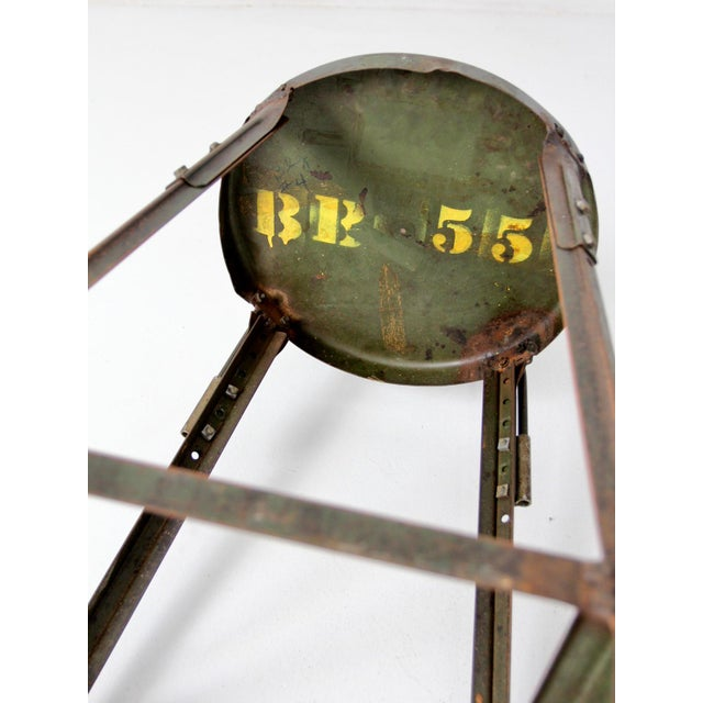 Green Vintage Industrial Drafting Stool For Sale - Image 8 of 10