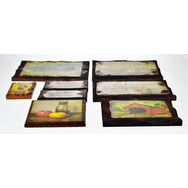 Green Vintage Carved Wood Decoupage Wall Art Plaques - Group of 8 For Sale - Image 8 of 11