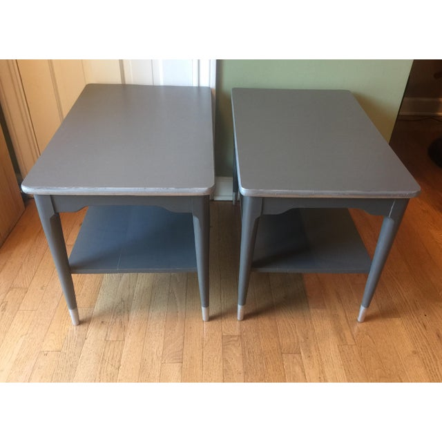 Mid-Century Gray & Silver End Tables - A Pair - Image 2 of 5