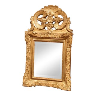 18th Century French Louis XV Carved Giltwood Wall Mirror From Provence For Sale