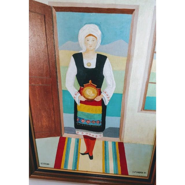 Green Vintage Mid-Century Bulgarian Soukman Saya Costume Folk Art Painting For Sale - Image 8 of 11