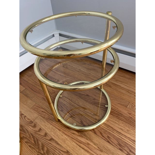 Hollywood Regency Hollywood Regency Brass and Glass Cocktail Tables - a Pair For Sale - Image 3 of 13