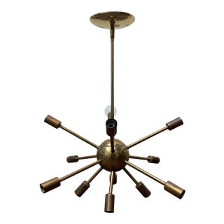 1960s Mid-Century Modern Brass Sputnik Light Fixture For Sale