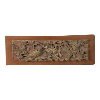 Late 19th Century Kuang Hsu Period Chinese Carved Painted & Gilded Rectangular Plaque For Sale