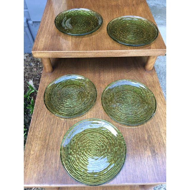 Vintage Libbey Rock Sharpe Olive Green Salad Plates- Set of 5 - Image 5 of 6