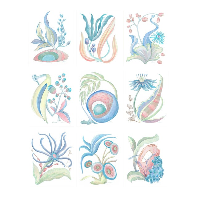 """""""Seaweed Fantasy Series"""" Contemporary Coastal Coral Reef Acrylic Paintings by Allison Cosmos - Set of 9 For Sale"""
