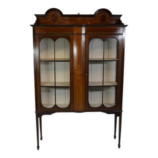 Early 1900's English Mahogany China/Display Cabinet For Sale