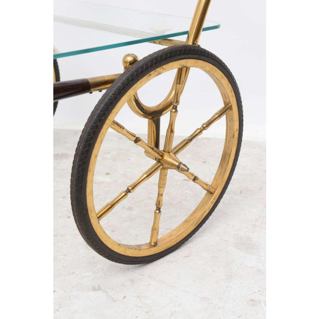 Metal 1950s Italian Brass and Glass Trolley Server For Sale - Image 7 of 10