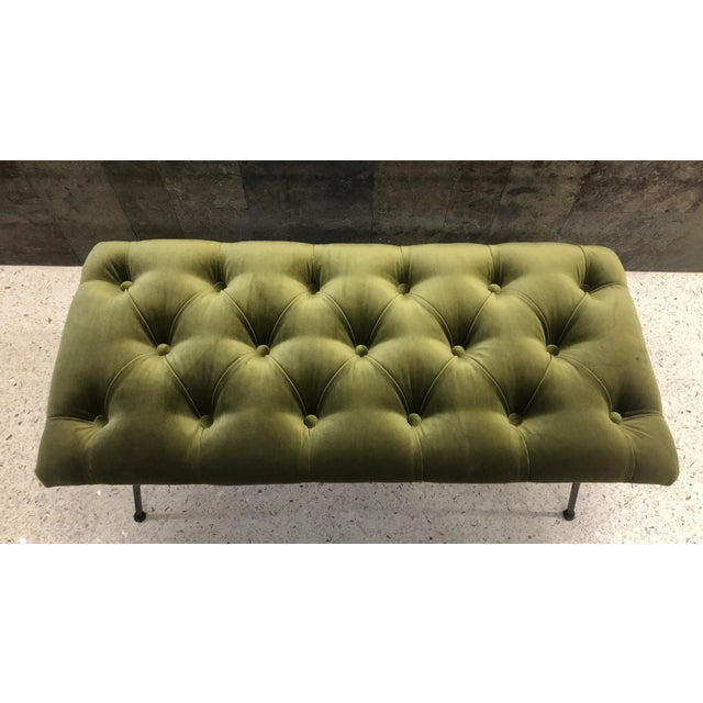 Mid-Century Modern 1960s Tufted Velvet and Wrought Iron Bench For Sale - Image 3 of 5