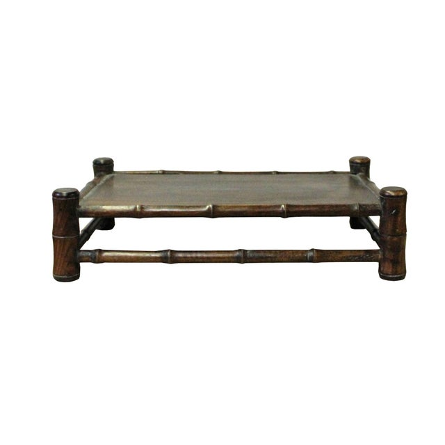 This is a handmade Chinese accent decorative display stand made of wood with a simulated bamboo look and natural wood...