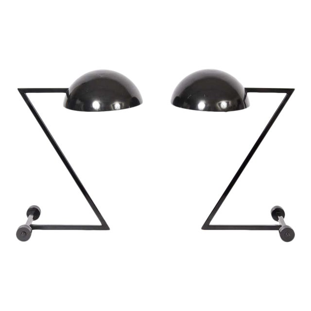 """1980s George Kovacs Style Black """"Z"""" Desk Lamps - a Pair For Sale"""