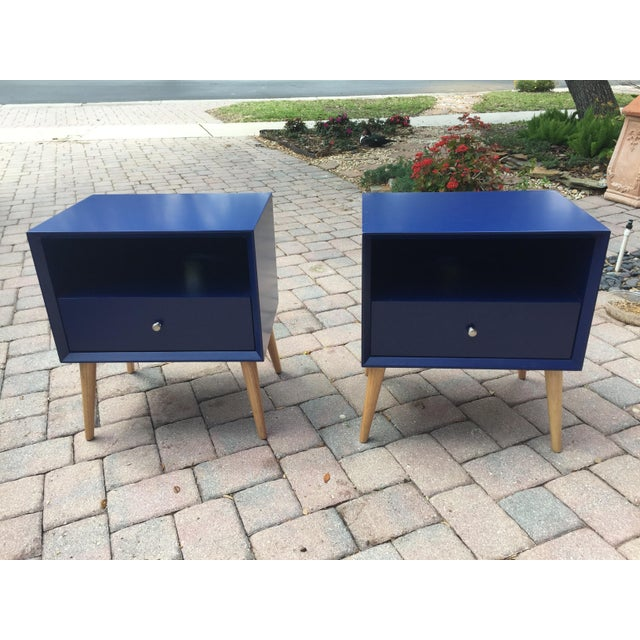 Blue Modern Blue Tapered Leg Nightstands - A Pair For Sale - Image 8 of 8