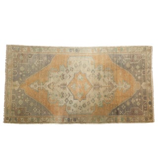 "Vintage Distressed Oushak Rug - 4'4"" X 8'2"" For Sale"