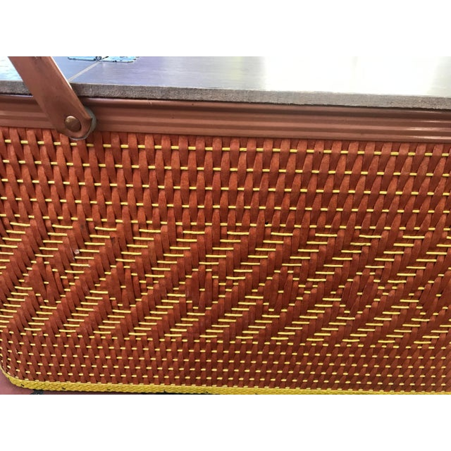 Mid-Century Modern Vintage Mid Century Woven Picnic Basket For Sale - Image 3 of 6