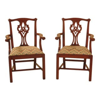 1990s Vintage Henkel Harris Model #101 Cherry Dining Room Arm Chairs - a Pair For Sale