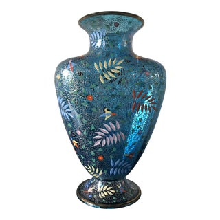 Victorian Moser Blue Glass Vase With Enameled Ferns and Flowers For Sale