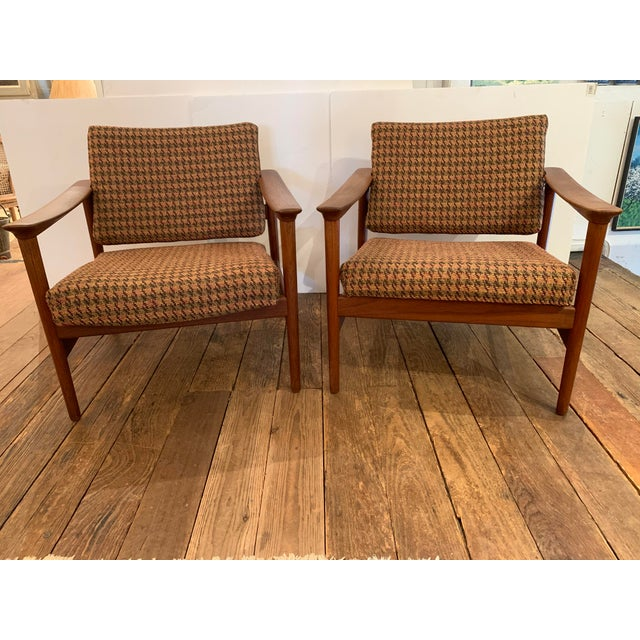 Danish Mid Century Modern Teak and Upholstered Club Chairs- A Pair For Sale In Philadelphia - Image 6 of 9