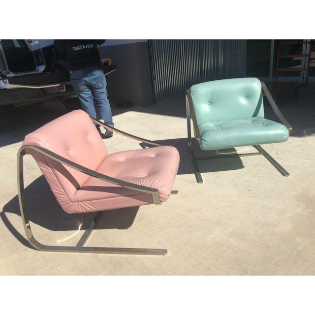 1970s 1970's Vintage Grasshopper Chrome Steal Lounge Chairs- A Pair For Sale - Image 5 of 11