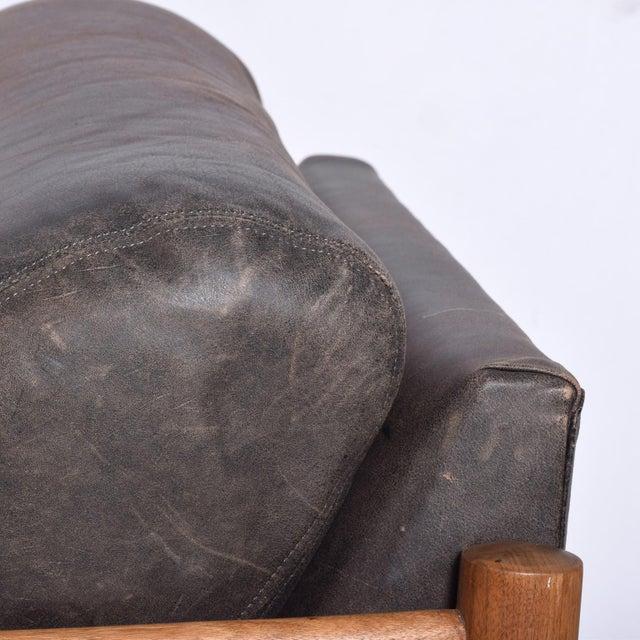 Wood Mid Century Modern Craft Associates Brazilian Leather Lounge Safari Chair For Sale - Image 7 of 11