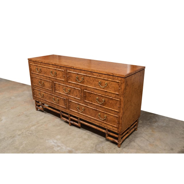 Vintage Ficks Reed faux bamboo 7 drawer dresser in original exceedingly rare, limited run, spatter finish. Original brass...
