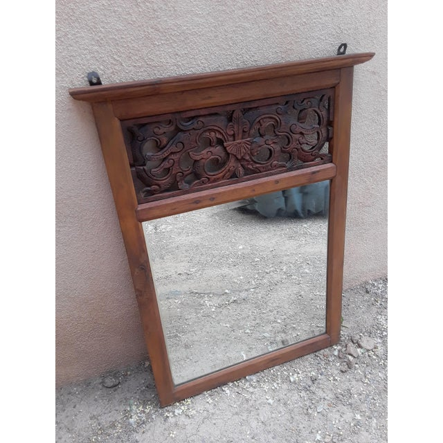 1990s Hand Carved Teak Wood Mirror For Sale - Image 5 of 8