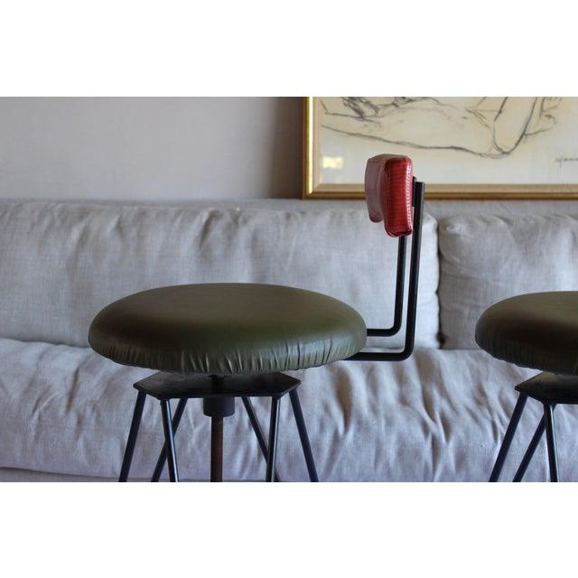 Metal Mid Century Modern Italian Wrought Iron Adjustable Height Bar Stools Arthur Umanoff Style- a Pair For Sale - Image 7 of 11